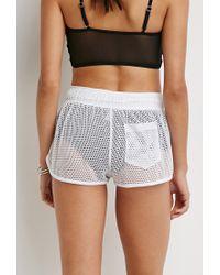 Forever 21 White Netted Mesh Drawstring Shorts