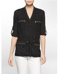 Calvin Klein | Black Linen Slub Zip Detail Roll-up Sleeve Camp Jacket | Lyst