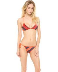 Marc By Marc Jacobs | Orange Cory Stripe Reversible Bikini Top | Lyst