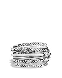 David Yurman | Metallic Three X Crossover Ring With Diamonds | Lyst