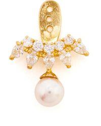 Yvonne Léon - Metallic Diamond And Pearl Lobe Earring - Lyst