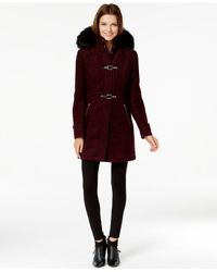 Ivanka Trump | Purple Faux-fur-trim Buckled Bouclé Coat | Lyst