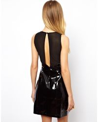ASOS Black Exclusive Patent Shift Dress with Mesh Insert
