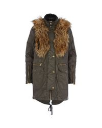 River Island - Natural Khaki Waxed Cotton Faux Fur Trim Parka Jacket for Men - Lyst