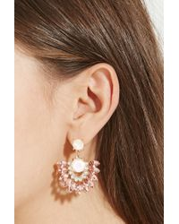 Forever 21 - Pink Faux Gemstone Drop Earrings - Lyst
