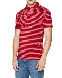 French Connection - Red Stripe Polo Shirt for Men - Lyst