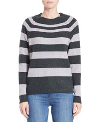 Free People - Gray Striped Knit Sweater - Lyst