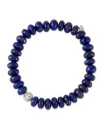 Sydney Evan Blue 8Mm Faceted Lapis Beaded Bracelet With 14K Gold/Diamond Ball Charm