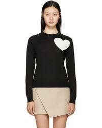 MSGM   Black Heart Crewneck Sweater   Lyst