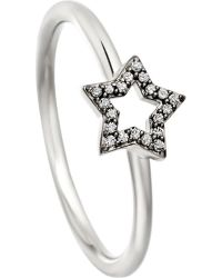 Astley Clarke | Metallic Open Star 14Ct White-Gold And Diamond Ring | Lyst