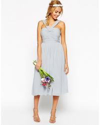 ASOS | Blue Wedding Midi Dress With Halter Neck Detail | Lyst
