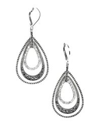 Judith Jack | Metallic Sterling Silver And Crystal Layered Drop Earrings | Lyst