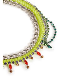 Joomi Lim - Green Cotton Braid Crystal Necklace - Lyst