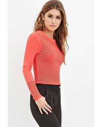 Forever 21 | Pink Ribbed Knit Cropped Sweater | Lyst
