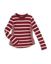 Vince - Red Long-sleeve Striped Jersey-knit Top - Lyst