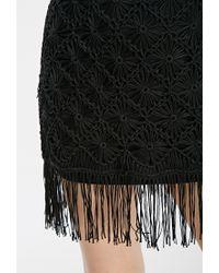 Forever 21 - Black Fringed Macramé Shift Dress - Lyst