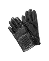 HUGO Black Lambskin Gloves 'Hh 118' for men