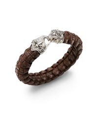 Scott Kay | Brown Guardian Leather  Sterling Silver Basket-weave Bracelet for Men | Lyst