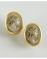 Gurhan - Gray Gold and Stone Pompeii Lava Cameos Earrings - Lyst