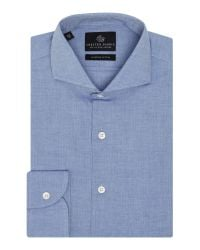 Chester Barrie | Blue Herringbone Tailored Fit Long Sleeve Shirt for Men | Lyst