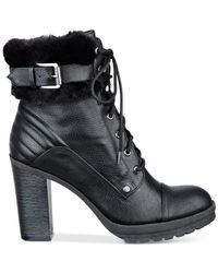 G by Guess | Black Golda Faux-fur Booties | Lyst