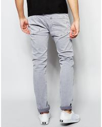 Replay Gray Jeans Anbass Slim Fit Stretch Light Grey Overdye Wash for men