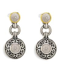 Lord & Taylor | Metallic Sterling Silver And 14k Yellow Gold Earrings With Diamond Accents | Lyst
