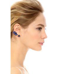 Oscar de la Renta - Blue Navette Crystal Cuff Earrings - Cobalt - Lyst