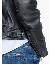 Violeta by Mango Gray Leather Biker Jacket