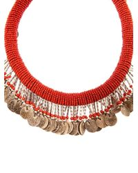 Muzungu Sisters Red Beaded Coin Necklace