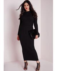 Missguided - Plus Size Maxi Knitted Rib Dress Black - Lyst