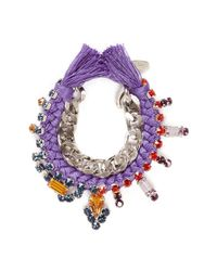 Joomi Lim | Purple Cotton Braid Crystal Bracelet | Lyst
