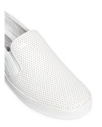 Michael Kors White 'keaton' Perforated Leather Skate Slip-ons