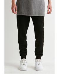 Forever 21 Black Perforated Kangaroo Pocket Sweatpants for men