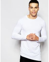 ASOS | Super Longline Long Sleeve T-shirt With Asymmetric Hem In White for Men | Lyst