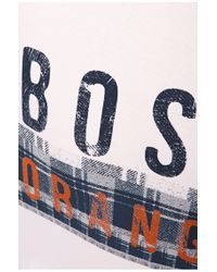 BOSS Orange | White T-shirt 'taiwo' With A Round Neckline for Men | Lyst