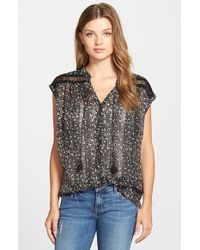 Lucky Brand - Black Embroidered Inset Floral Print Top - Lyst