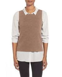 Eileen Fisher | Brown Bateau Neck Merino Shell | Lyst