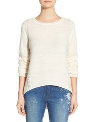 Jag Jeans White Boat Neck Drop Tail Sweater