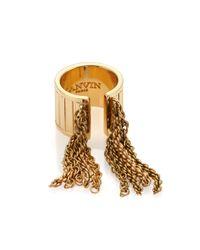 Lanvin - Metallic Chain Fringe Ring - Lyst