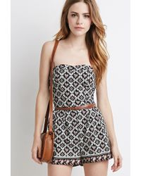 Forever 21 | Black Belted Paisley Print Romper | Lyst