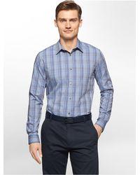 Calvin Klein | Blue White Label Classic Fit Tonal Plaid Liquid Cotton Shirt for Men | Lyst