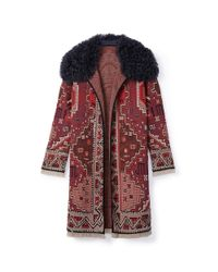 Tory Burch - Red Embellished Long-sleeve Coat - Lyst