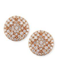 Jamie Wolf | Pink 18k Rose Gold Pav Diamond Small Stud Earrings | Lyst