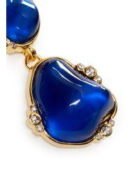 Kenneth Jay Lane - Blue Cabochon Stone Drop Clip Earrings - Lyst