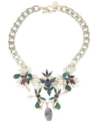 Anton Heunis | Metallic Amethyst And Swarovski Crystal Necklace | Lyst