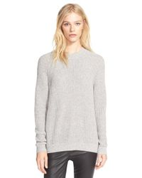 VINCE | Gray Directional Rib Knit Wool & Cashmere Sweater | Lyst