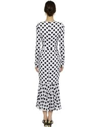 Dolce & Gabbana - White Polka Dot Printed Silk Charmeuse Dress - Lyst