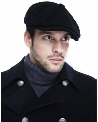 Stetson Black Cashmere Blend Hatteras Flat Cap for men