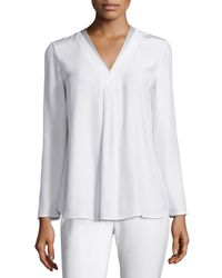 Lafayette 148 New York | White Libby Long-sleeve V-neck Blouse | Lyst